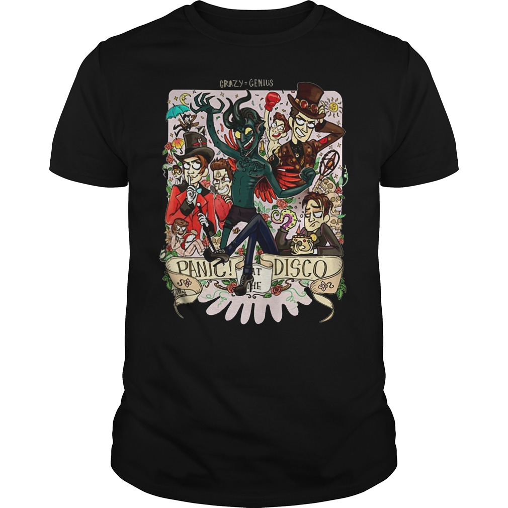 The official Crazy=genius panic at the Disco shirt and hoodie