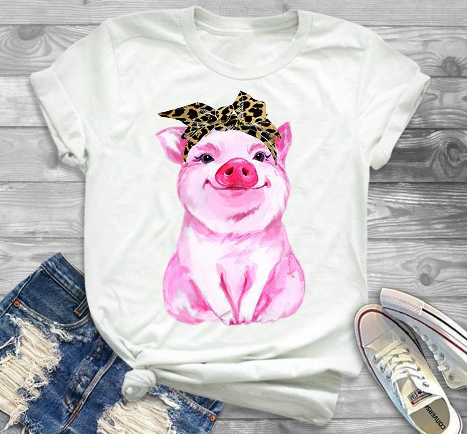 Pink pig bandana shirt