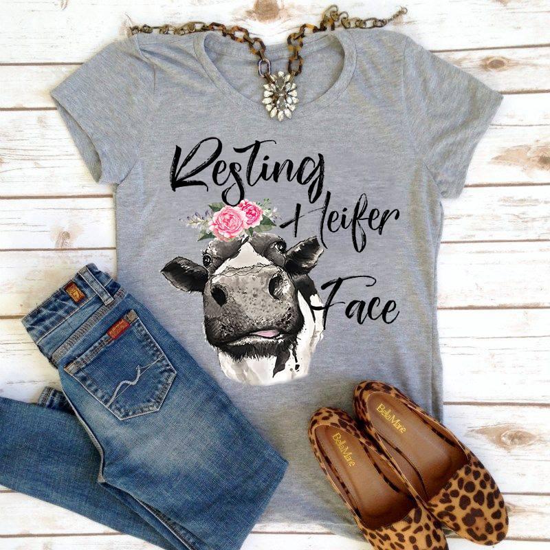 Resting heifer face shirt