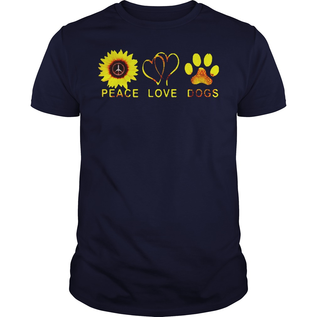 Official Sunflower peace and love and dogs Guys shirt