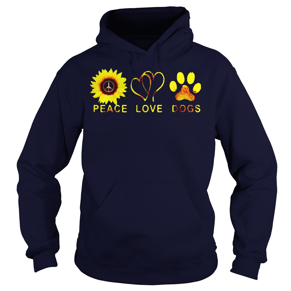 Official Sunflower peace and love and dogs Hoodie