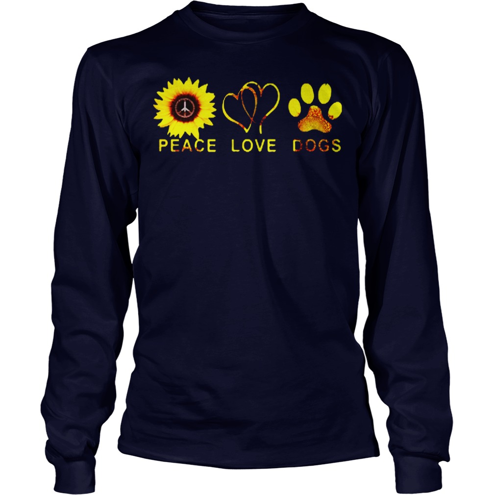 Official Sunflower peace and love and dogs Longsleeve tee