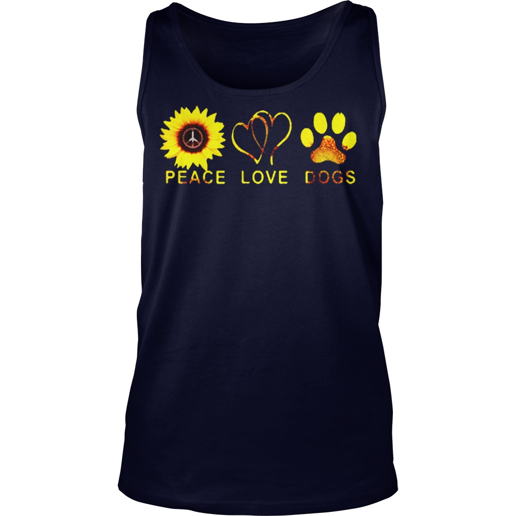 Official Sunflower peace and love and dogs Tank top