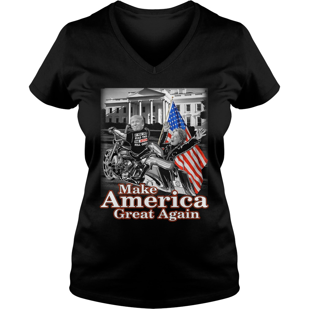 Donald Trump Make America Great Again Hillary Clinton Ladies v neck