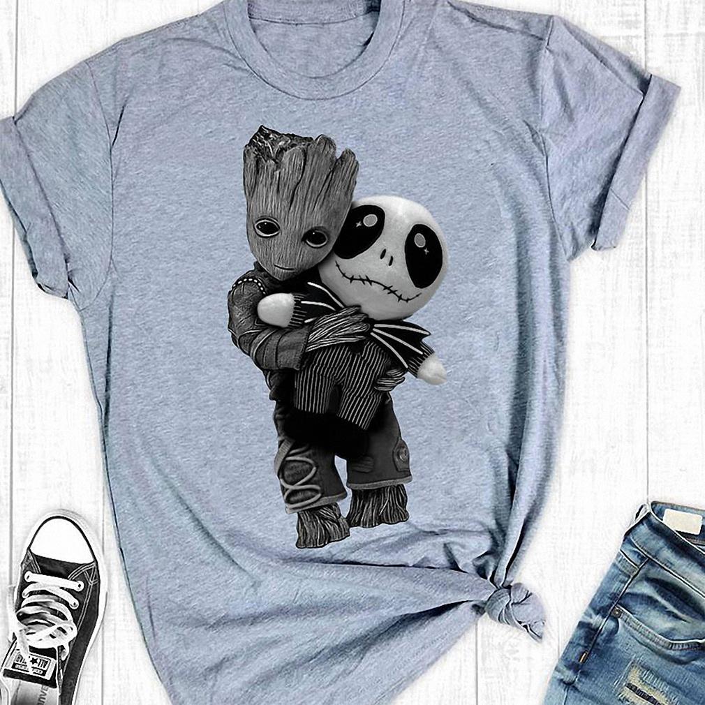 Groot hug tiny Jack Skellington shirt