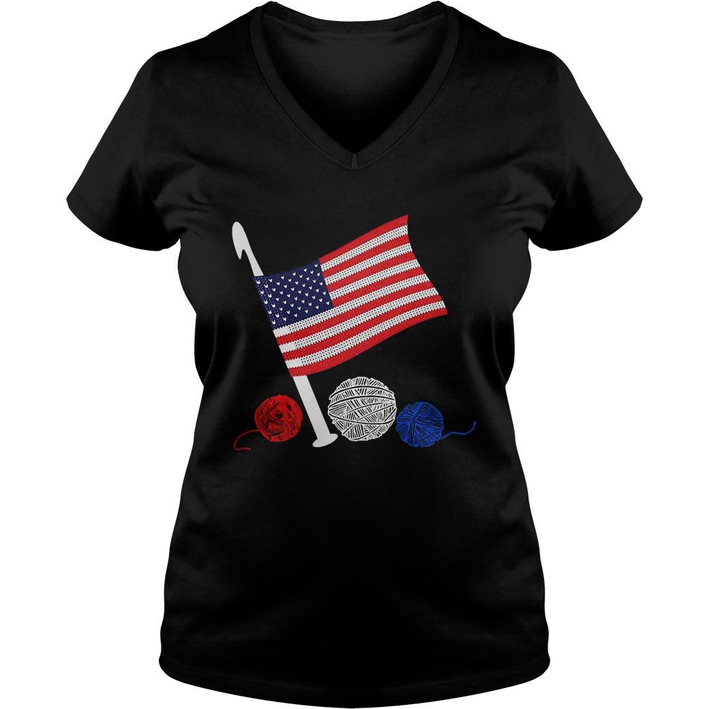 Official Crochet Flag America Ladies v neck
