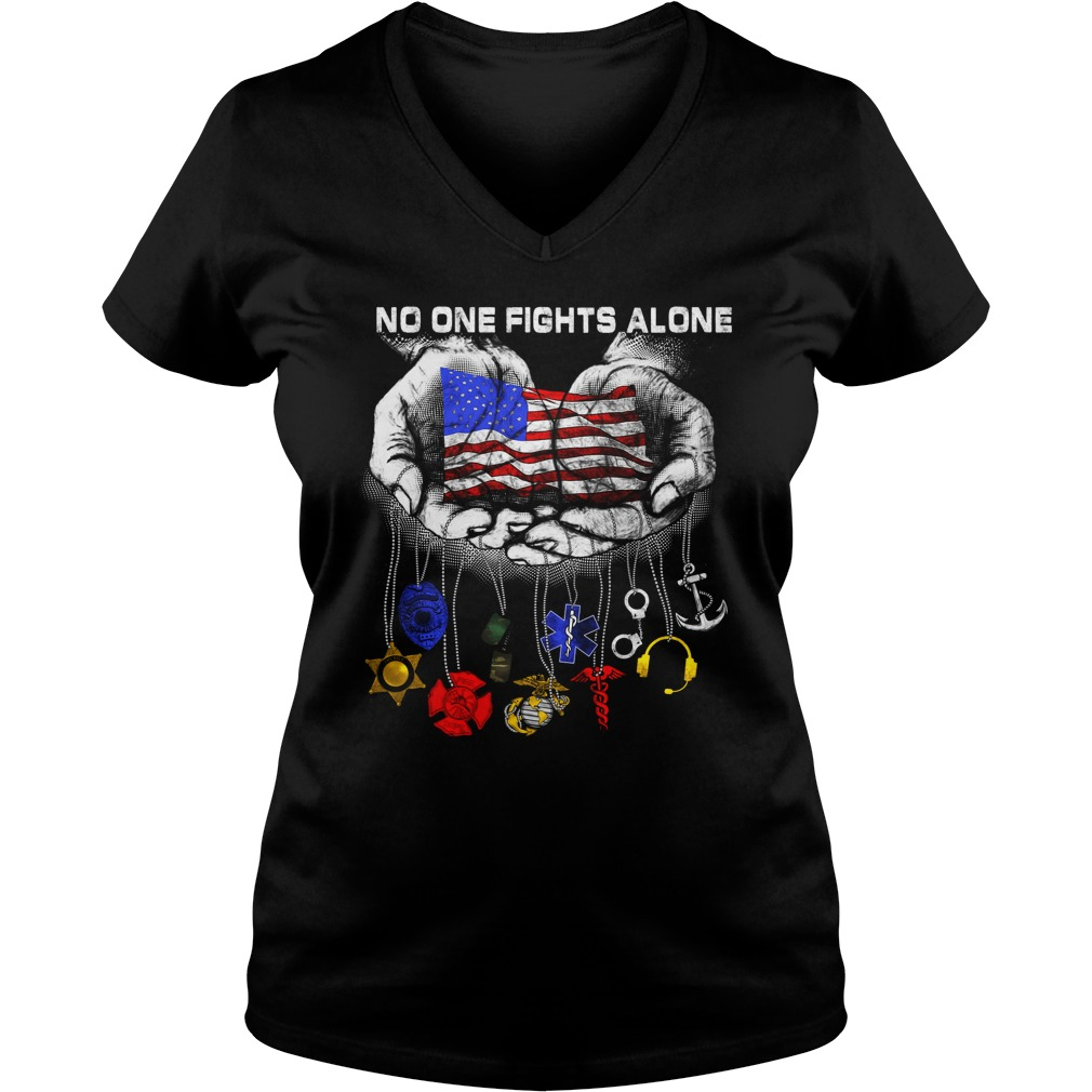 Official No one fights alone ladies v neck
