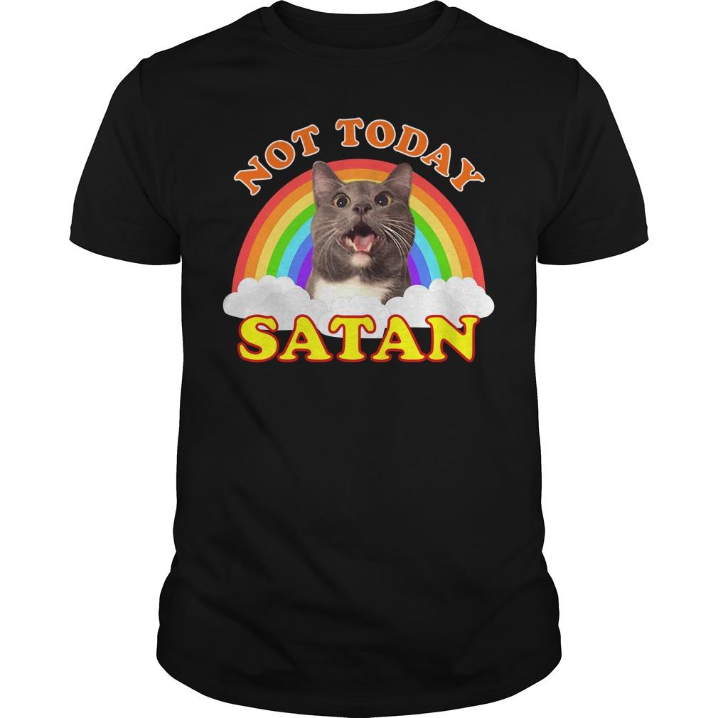 Funny Satan Death Metal Cat Not Today Rainbow Guys Shirt