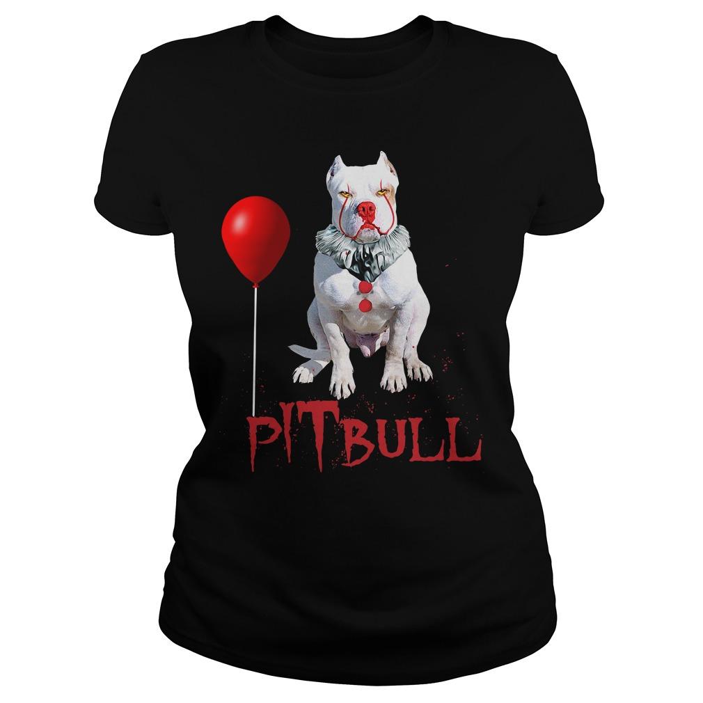 Pitbull Clown Halloween Ladies Shirt