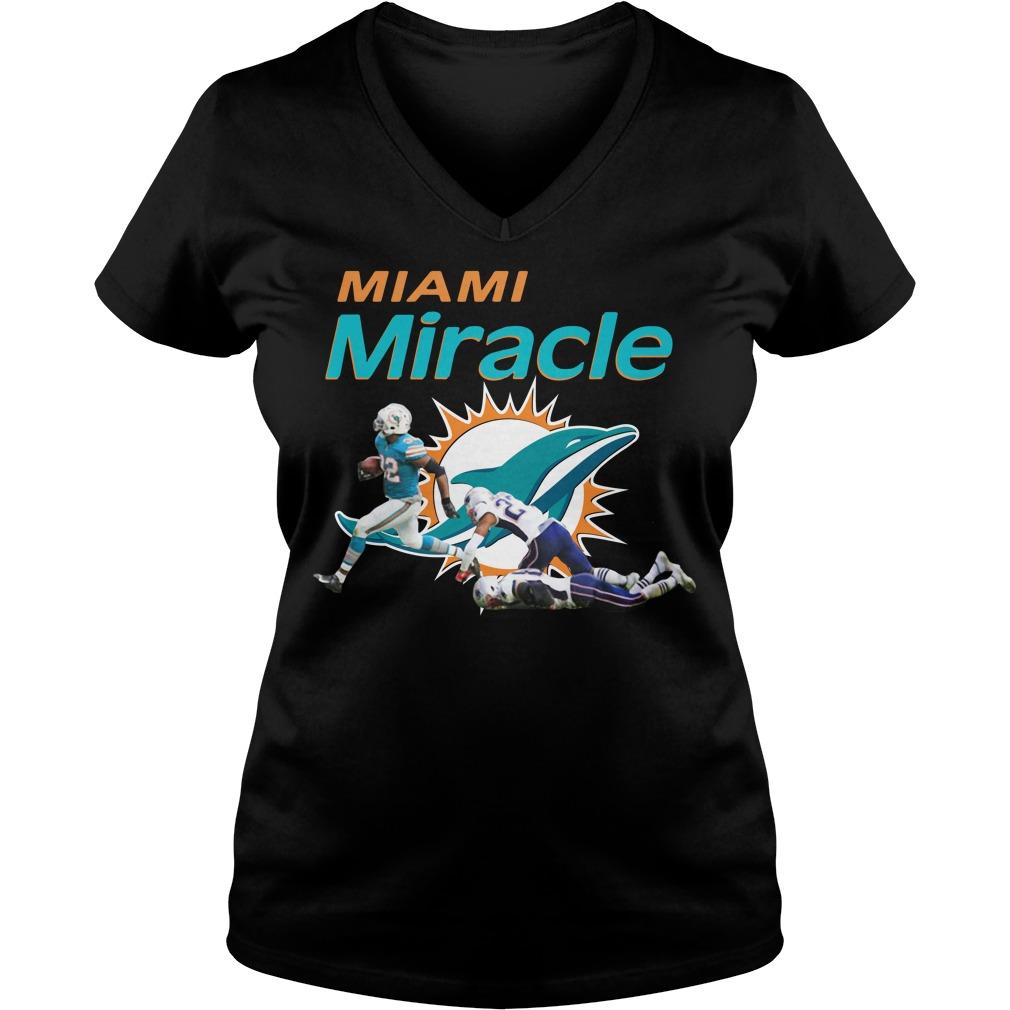 Dolphins Miami Miracle Kenyan Drake Beats The Patriots Ladies v neck