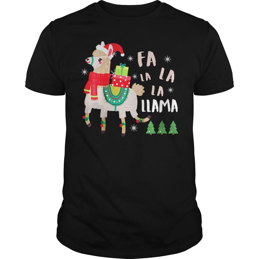 Fa La La La Llama Cute Llama Christmas Unisex Shirt