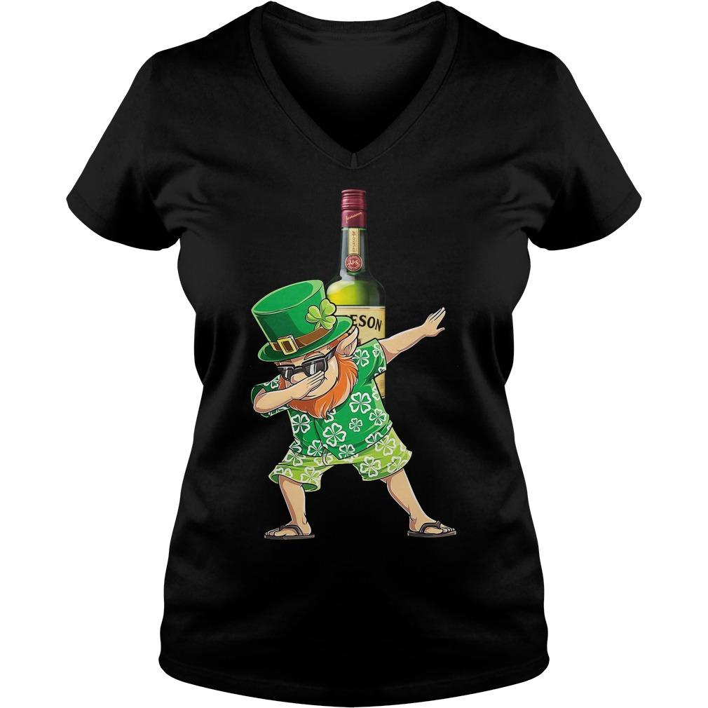 Dabbing Leprechaun Hawaiian Jameson Irish Whiskey Ladies v neck
