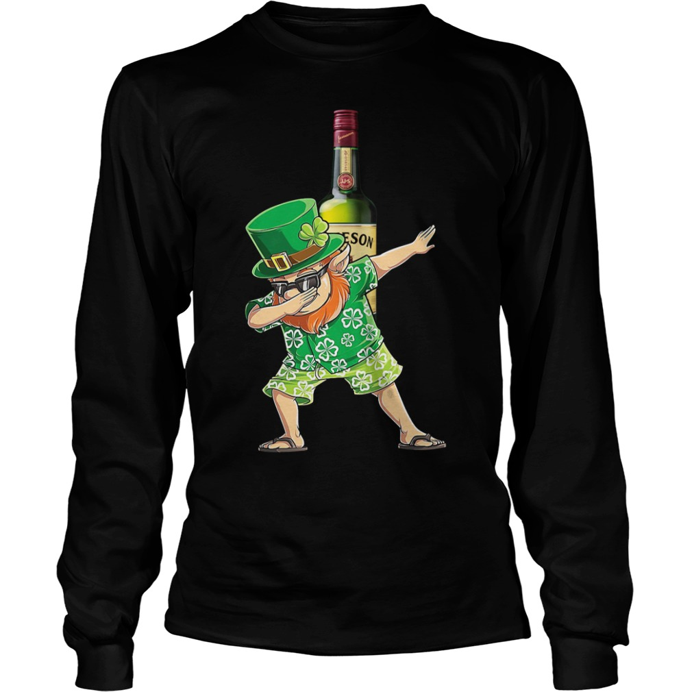Dabbing Leprechaun Hawaiian Jameson Irish Whiskey Longsleeve Shirt