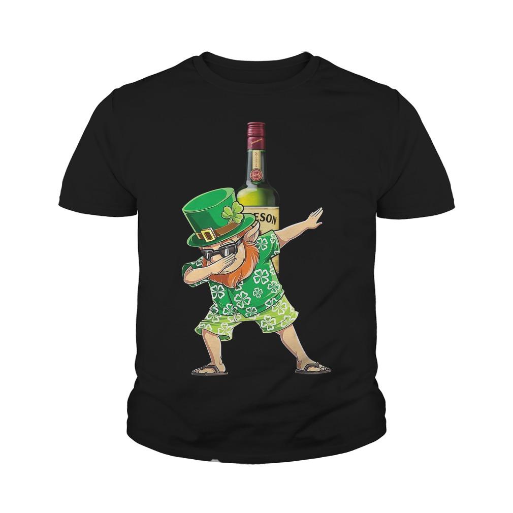 Dabbing Leprechaun Hawaiian Jameson Irish Whiskey Youth Shirt
