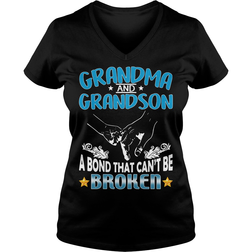 Grandma And Grandson A Bond That Can't Be Broken Ladies v neck