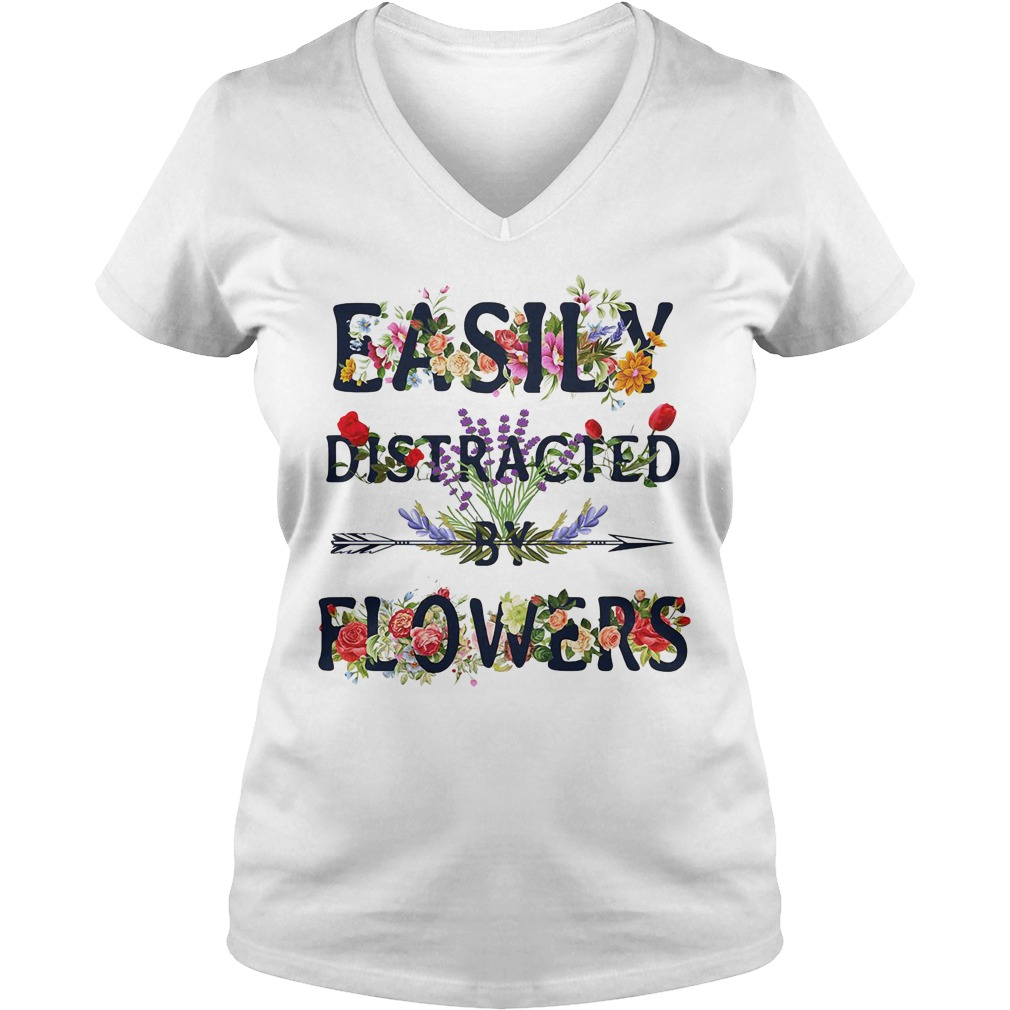 Official Easily Distracted By Flowers Ladies v neck