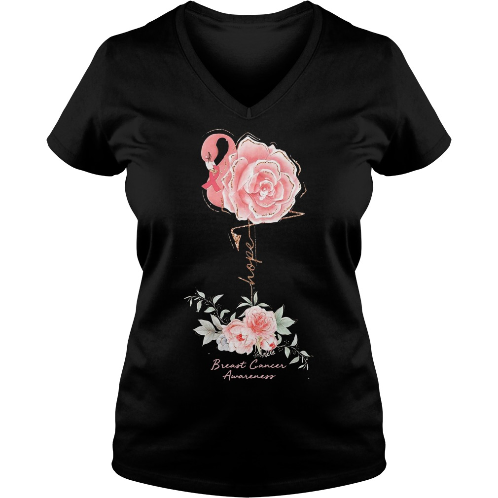Rose Breast Cancer Awareness Ladies v neck