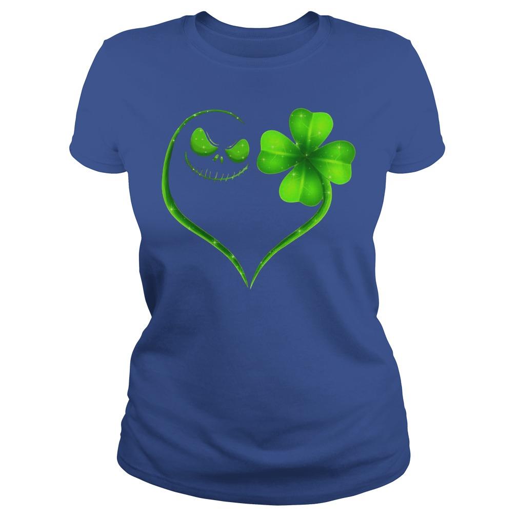 St Patrick's Day Jack Skellington Irish Heart Ladies Shirt