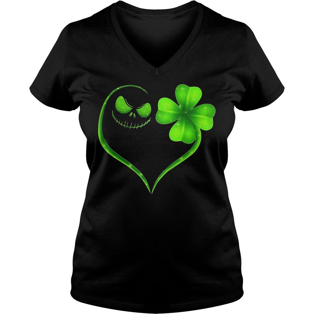 St Patrick's Day Jack Skellington Irish Heart Ladies v neck