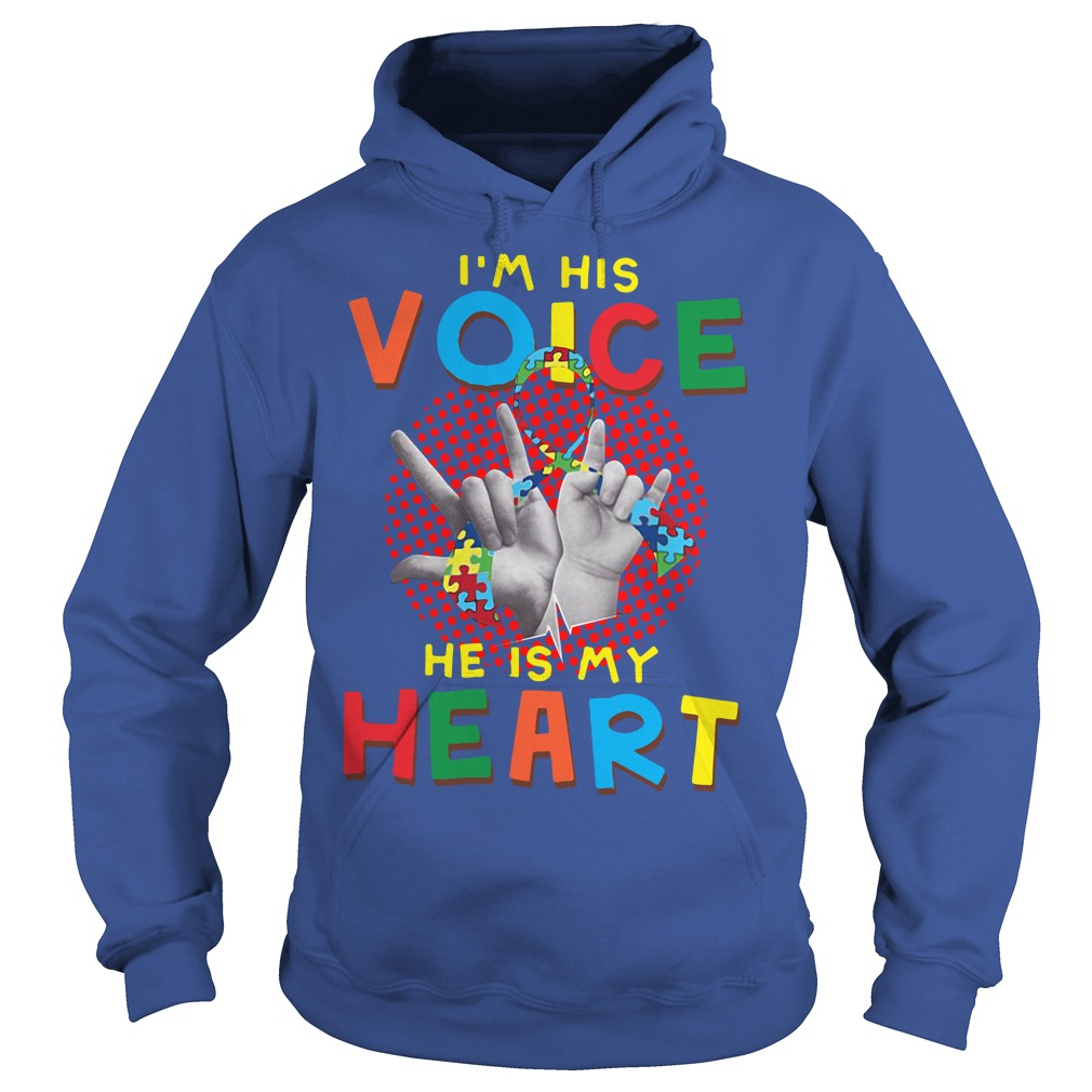 I Am Your Voice He Is My Heart Autism Mom Hoodie