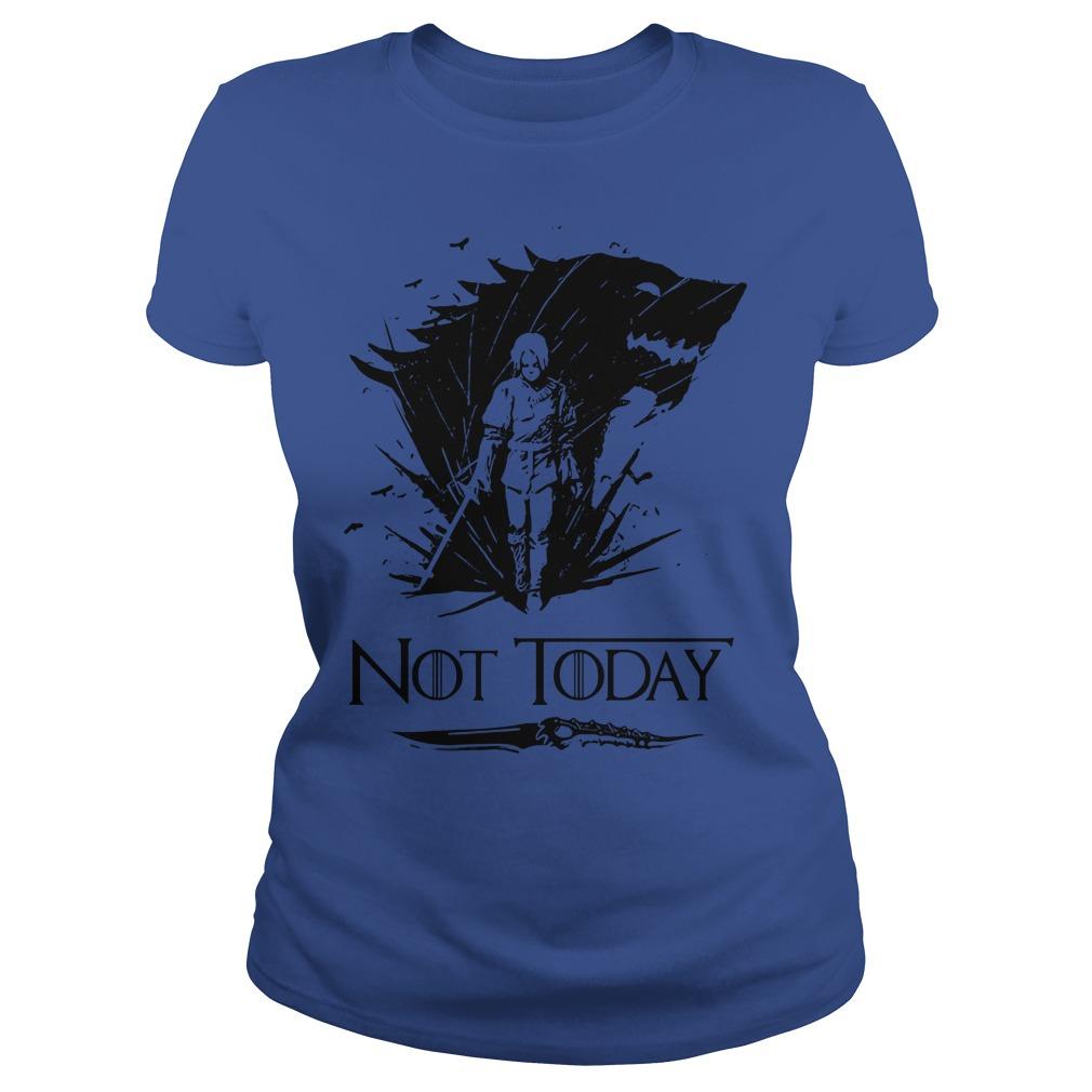 Game Of Thrones Arya Stark Catspaw Valyrian Steel Dagger Not Today Ladies Shirt